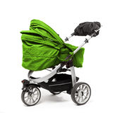Green baby stroller on white Royalty Free Stock Photos