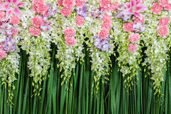 Green backdrop flowers arrangement Stock Photography