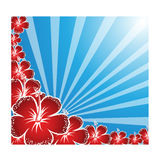 Green background. Red floral artwork with background Royalty Free Stock Images