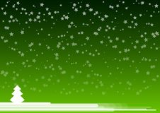 Green background. With white tree Royalty Free Stock Photography