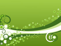 Green background. With flower,  rings and curls Royalty Free Stock Image