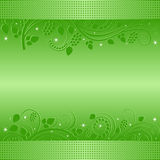 Green background. With floral ornaments Stock Photos