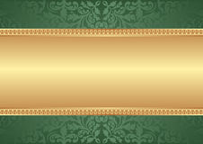 Green background. Gold and green background with ornaments Stock Images