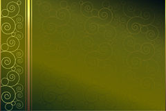 Green background. With golden and green spirals stock illustration