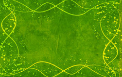 Green background. With yellow lines and leaves clovers Stock Photos