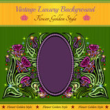green background with abstract violet flower Royalty Free Stock Images