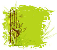 Green background with bamboo Royalty Free Stock Photo