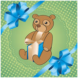 Green background with bear. Square green background with bear Stock Photography