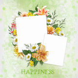 Green background with beautiful flowers and frames with space for photo or text Royalty Free Stock Photos