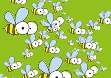 Green Background With Bees. Royalty Free Stock Photo
