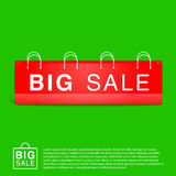 Green Background With Big Red Empty Bag Stock Images