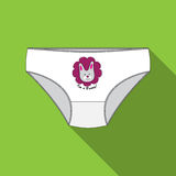 On a green background briefs for girls with print and inscription in English. Royalty Free Stock Images