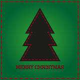 Green background card with black christmas tree Royalty Free Stock Photography
