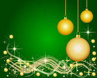 Green Background with Christmas Balls Stock Image