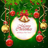 Green background with Christmas balls and banner Stock Photos