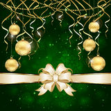 Green background and Christmas balls Stock Photo