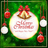 Green background with Christmas balls and round banner Stock Photo