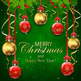 Green background with Christmas balls and snowflakes. Green background with snowflakes, Christmas balls with red bow, tinsel, holly berry and fir tree branches Royalty Free Stock Photography