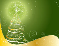 Green background with Christmas tree Royalty Free Stock Photo
