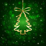 Green background with Christmas tree Royalty Free Stock Image