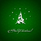 Green background with christmas tree Stock Images