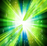 Green Background with circle rays and burst Stock Images
