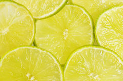 Green background with citrus-fruit of lime slices Stock Photos