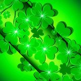 Green background with clover for St. Patrick`s day. Card green background with clover for St. Patrick`s day symbol of good luck Royalty Free Stock Photo