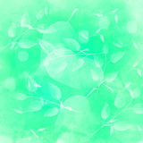 Green background with different leaves pattern. Watercolor artistic vector texture Royalty Free Stock Images