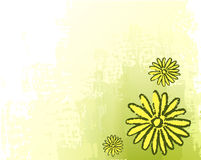 Green background with drawing. Of flowers Stock Photo