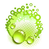 Green background with drops Royalty Free Stock Image