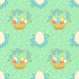 Green background with easter basket Royalty Free Stock Photo