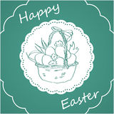 Green background with Easter bunny Stock Image