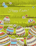 Green background with easter eggs, vector Stock Photos