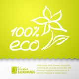 Green background and eco 100% sticker. Royalty Free Stock Image