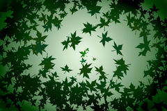 Green background with fallen leafs Royalty Free Stock Images