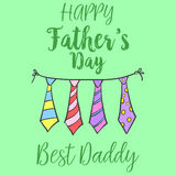 On green background father day card. Vector art Stock Image