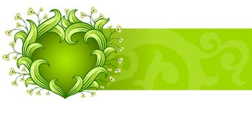 Green background with floral heart Royalty Free Stock Photo