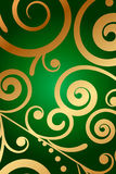 Green background with floral ornament royalty free illustration