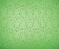 Green background with floral pattern Stock Images