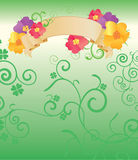 Green background with flowers banner Royalty Free Stock Image