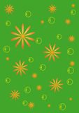 The green background with flowers and bubbles. Cheerful bright green background with stylized orange flowers Stock Photography