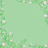 Green background with flowers and butterflies. Stock Photos