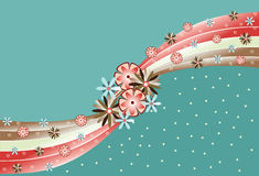 Green background with flowers. retro style. Flowers and waves stock illustration
