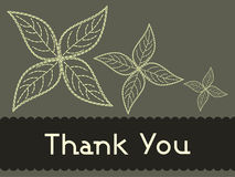 Green background with flowers and thankyou text Stock Photo