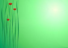 Green Background with flowers. Green Background Vector with red flowers royalty free illustration
