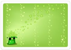 Green Background of Four Leaf Clovers in Green Hat Stock Photography