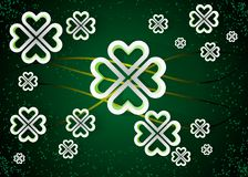 Green background with four leaf clovers, St. Patrick s Day background illustration. 10 eps stock illustration