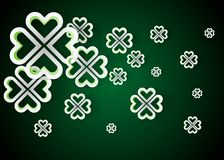 Green background with four leaf clovers, St. Patrick s Day background vector illustration. 10eps vector illustration