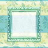 Green background with frame and flowers Royalty Free Stock Image